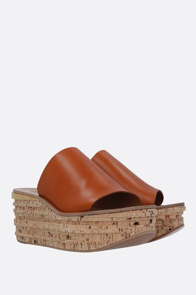 CHLOÈ: Camille wedge mule sandals in smooth leather Color Brown_3