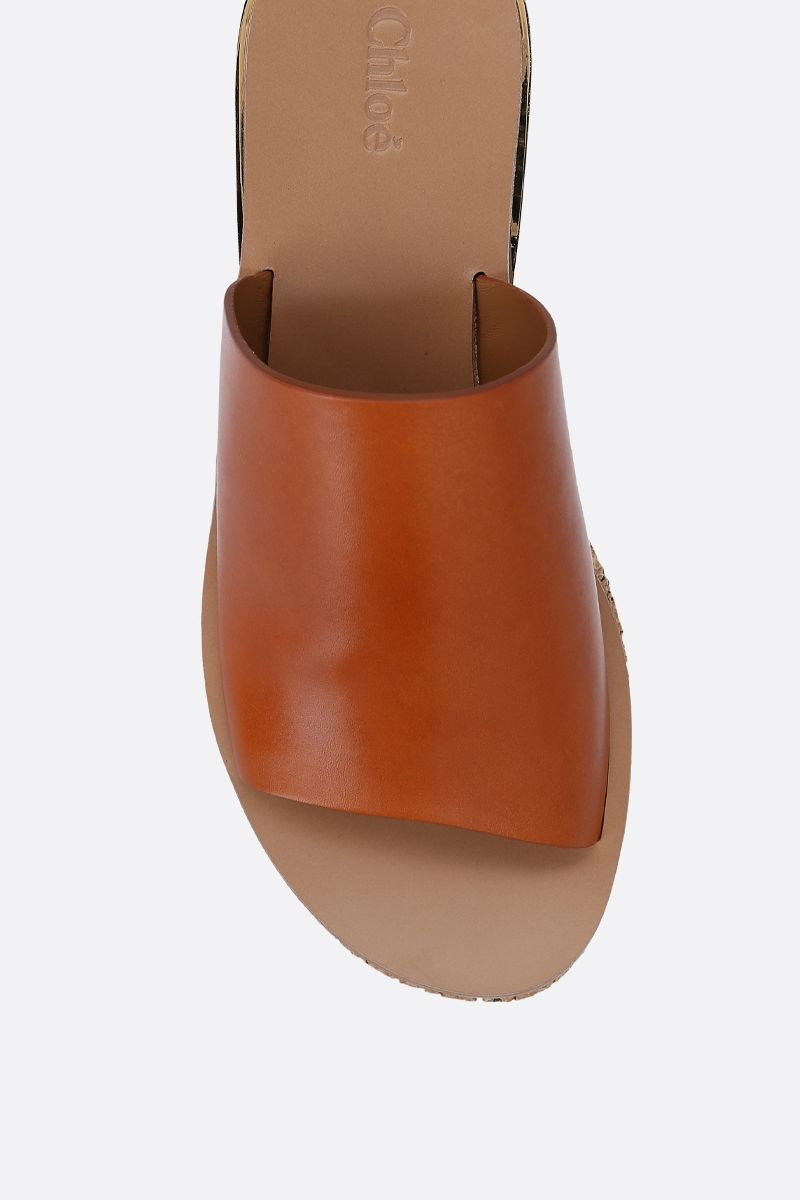 CHLOÈ: Camille wedge mule sandals in smooth leather Color Brown_5