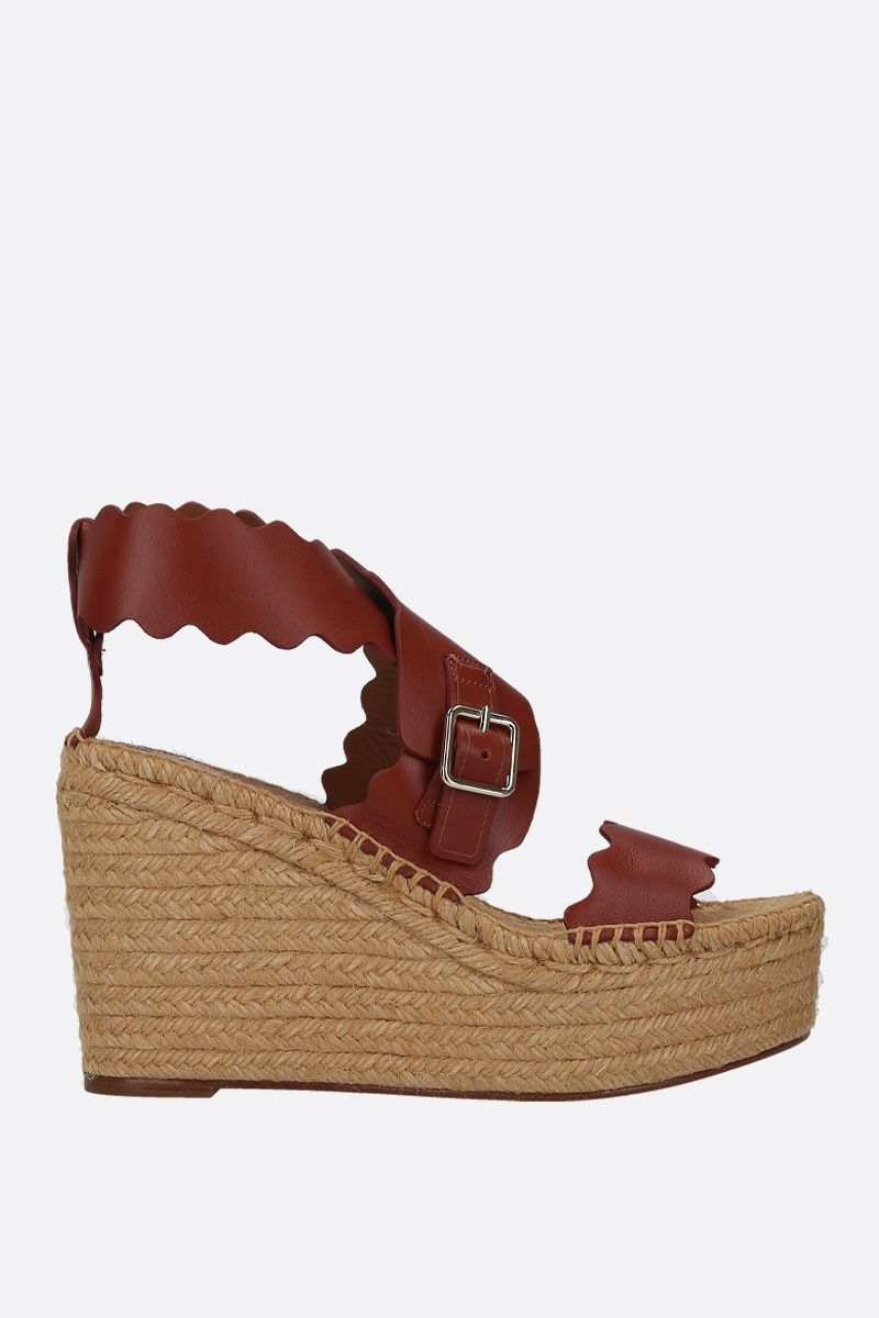 CHLOÈ: Lauren smooth leather wedge sandals Color Brown_1