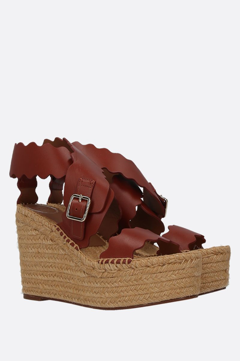 CHLOÈ: Lauren smooth leather wedge sandals Color Brown_3