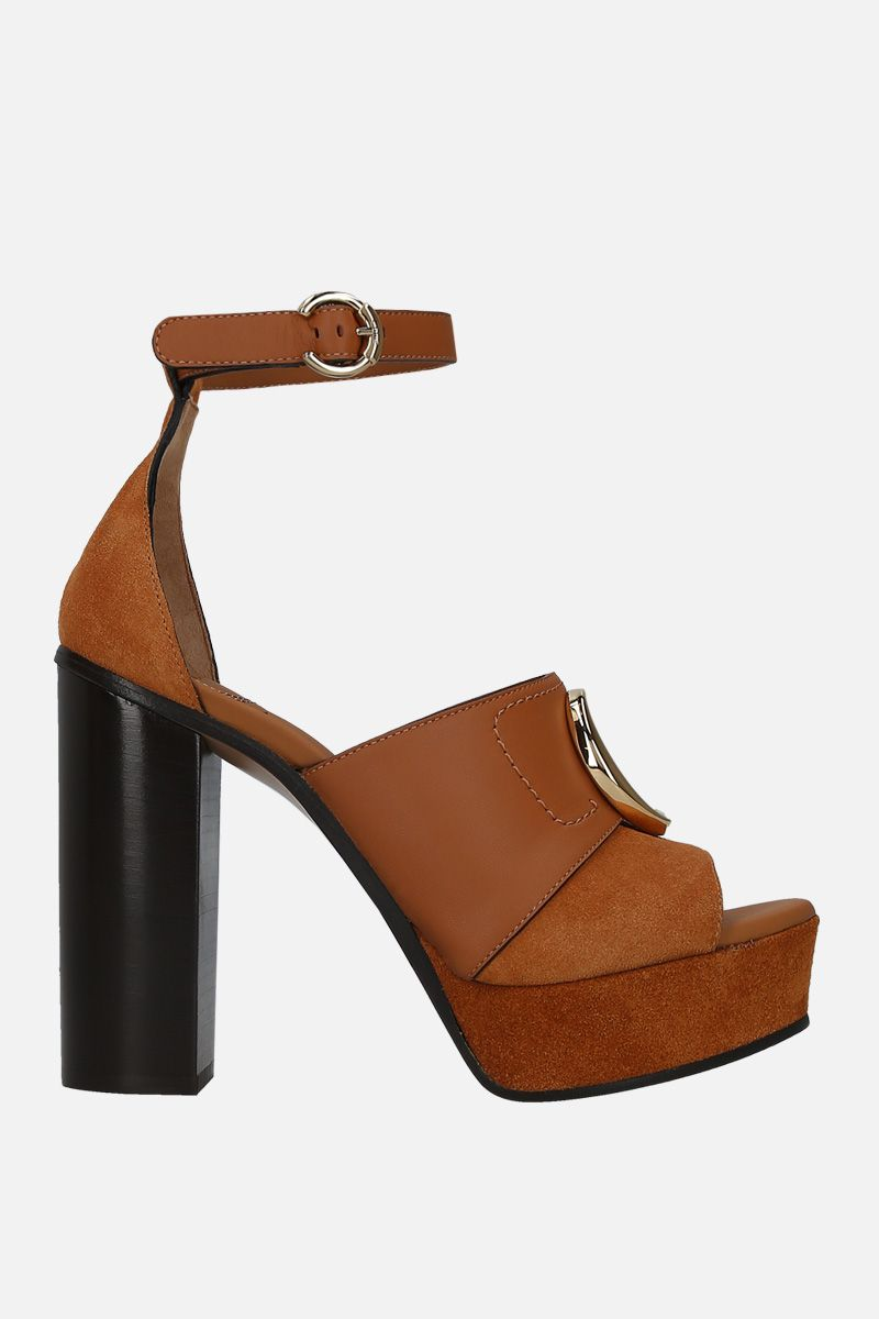 CHLOÈ: Chloè C platform sandals in smooth leather and suede_1