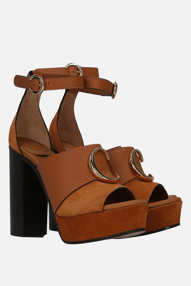 CHLOÈ: Chloè C platform sandals in smooth leather and suede_2