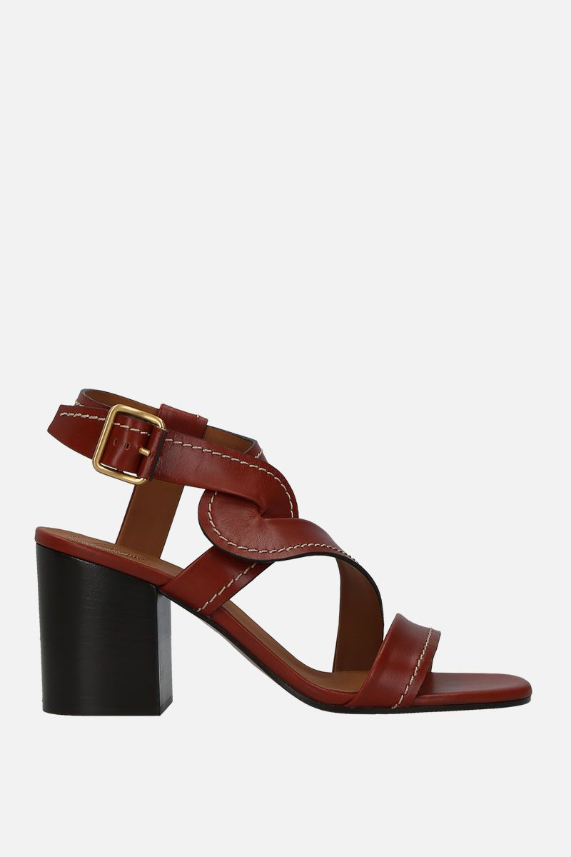 CHLOÈ: Candice shiny leather sandals Color Brown_1