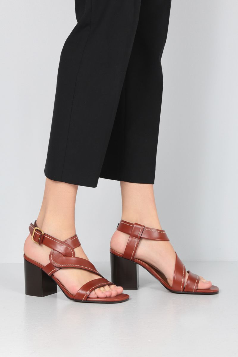CHLOÈ: Candice shiny leather sandals Color Brown_2