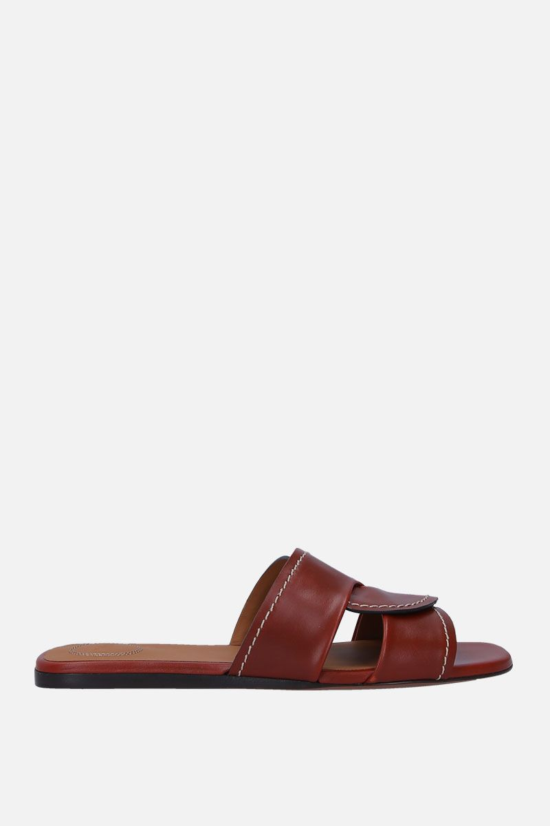 CHLOÈ: Candice slide sandals in shiny leather Color Brown_1