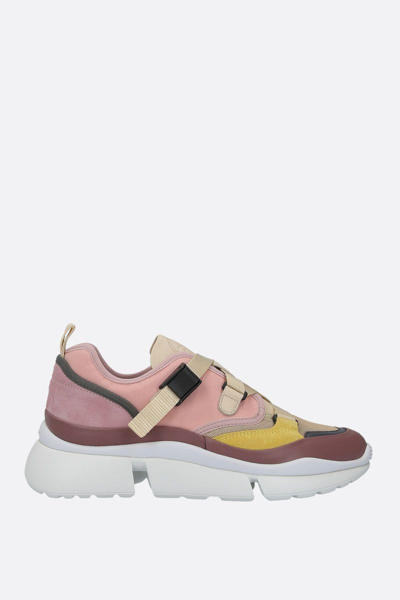 CHLOÈ: Sonnie low-top sneakers in leather and fabric_1
