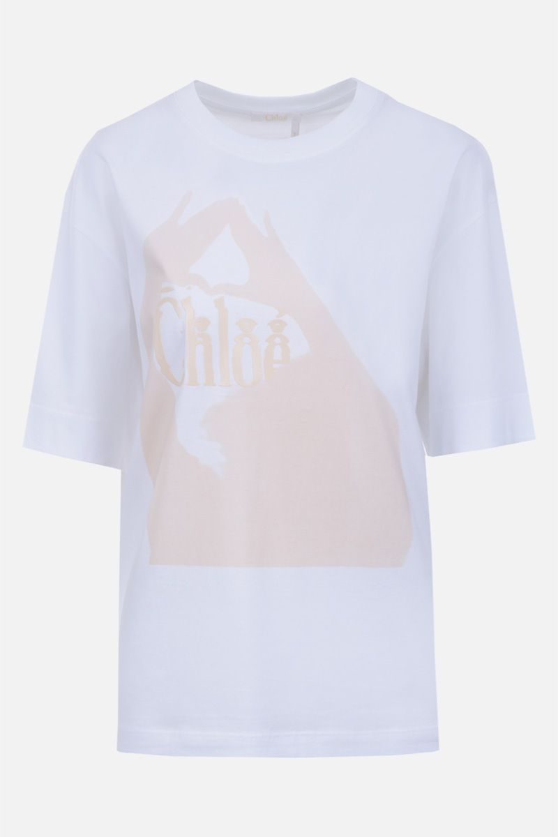 CHLOÈ: logo print cotton t-shirt Color Multicolor_1