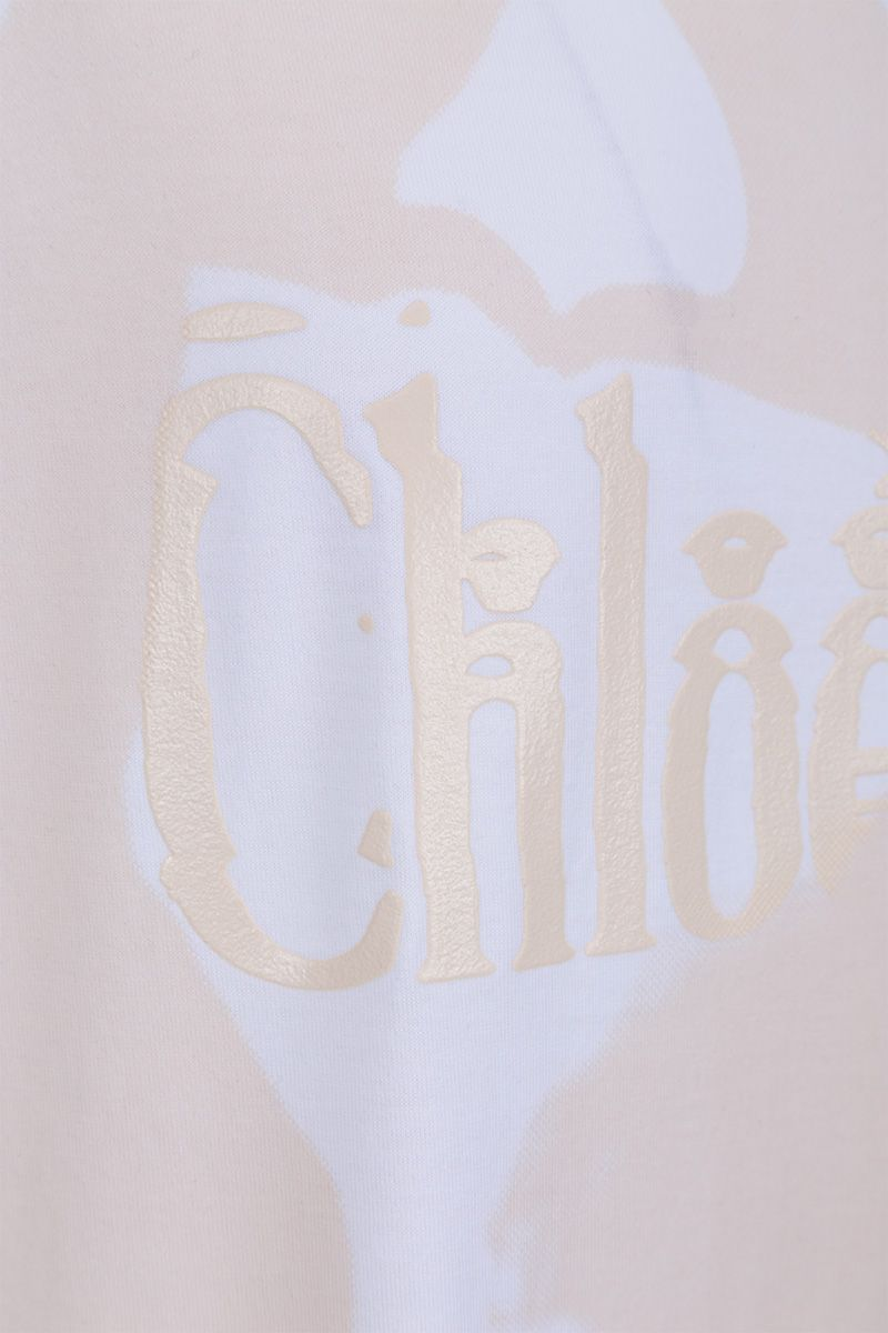 CHLOÈ: logo print cotton t-shirt Color Multicolor_4