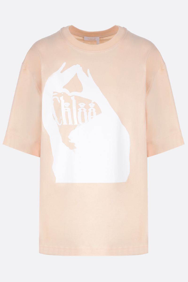 CHLOÈ: logo print cotton t-shirt Color Pink_1