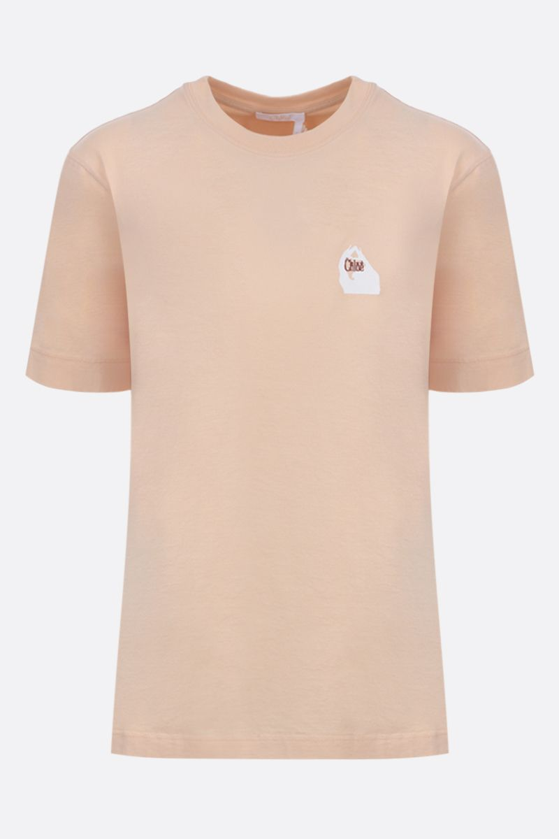 CHLOÈ: logo embroidered cotton t-shirt Color Neutral_1