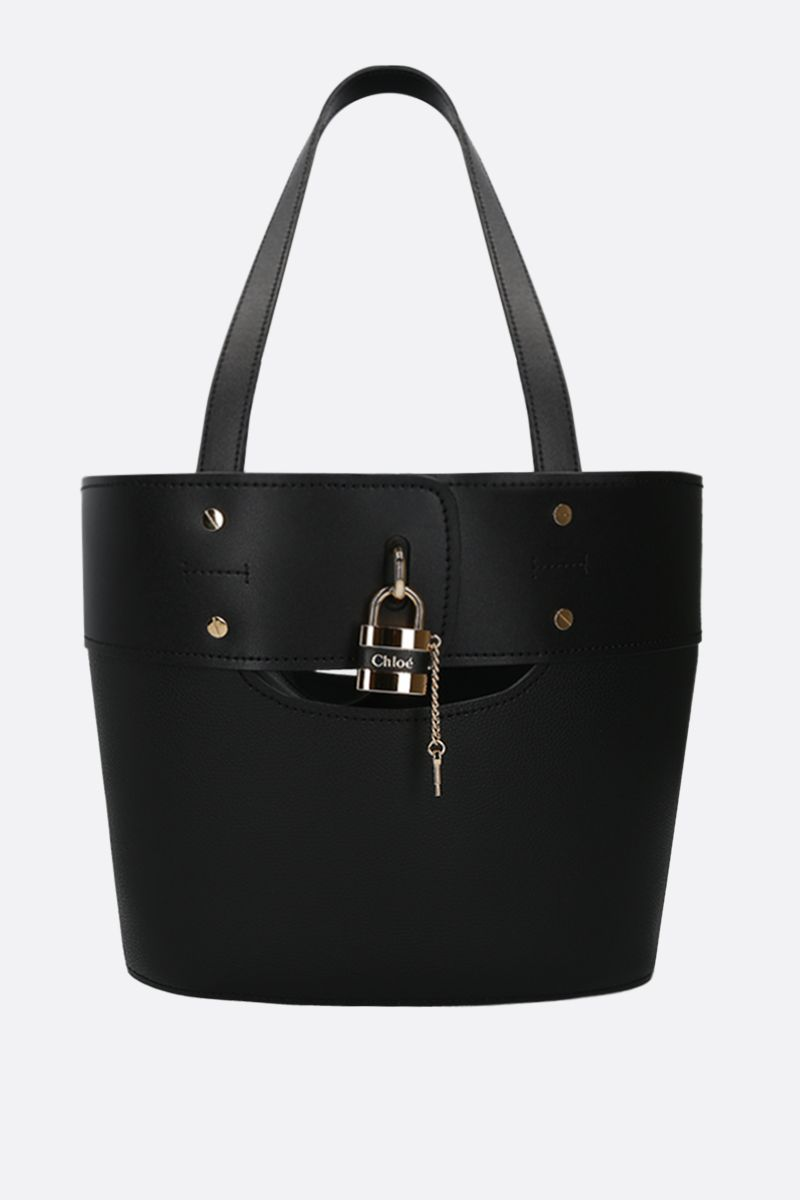 CHLOÈ: Aby small tote bag in smooth and grainy leather Color Black_1