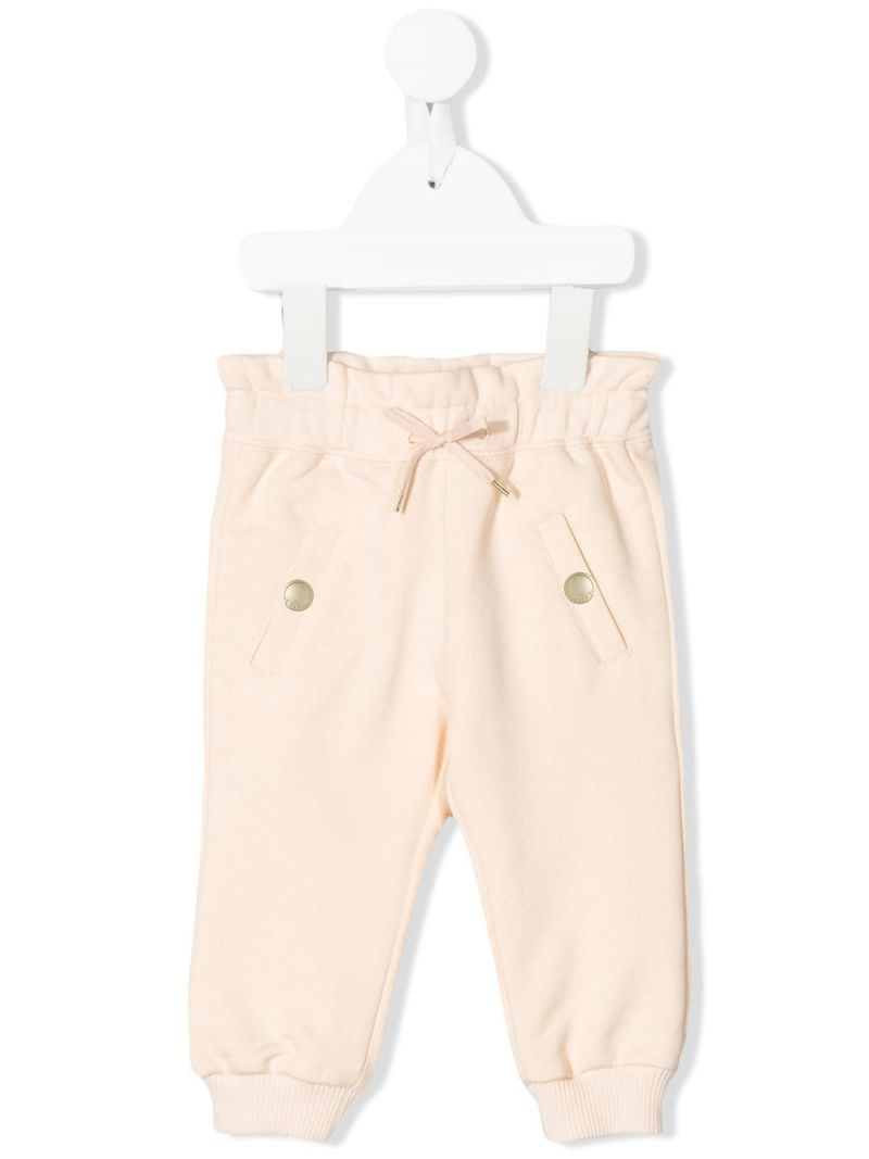 CHLOÈ KIDS: logo embroidered cotton blend joggers_1