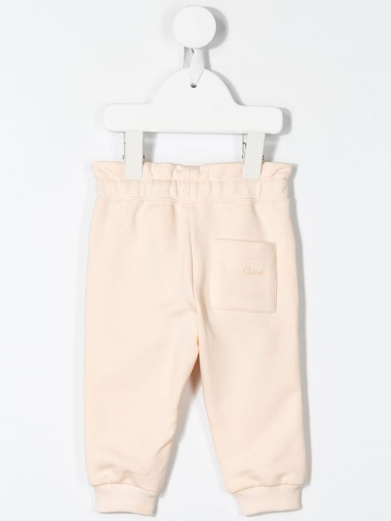 CHLOÈ KIDS: logo embroidered cotton blend joggers_2