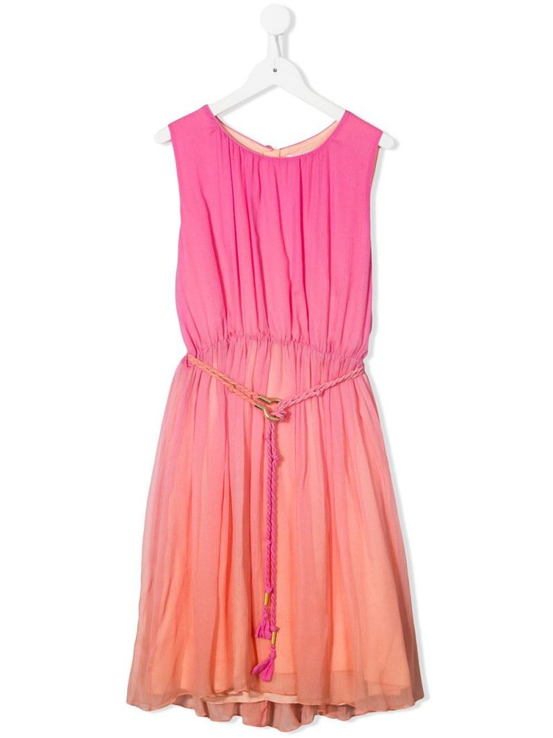 CHLOÈ KIDS: crinkled silk sleeveless dress_1