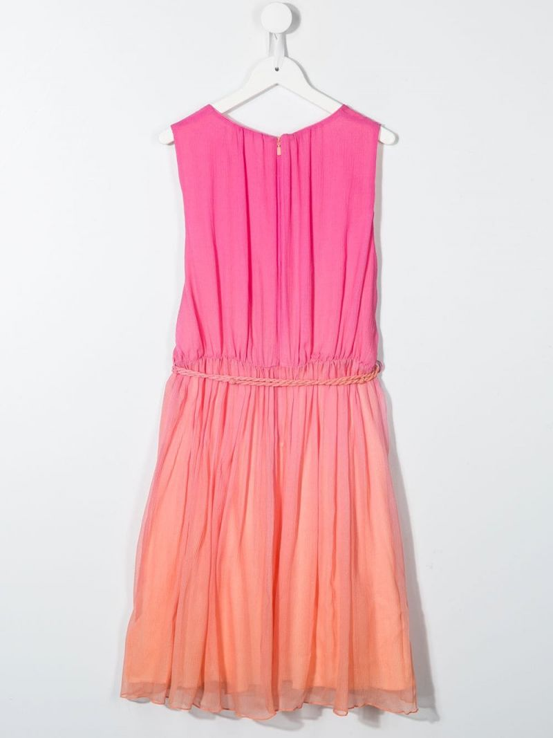 CHLOÈ KIDS: crinkled silk sleeveless dress_2
