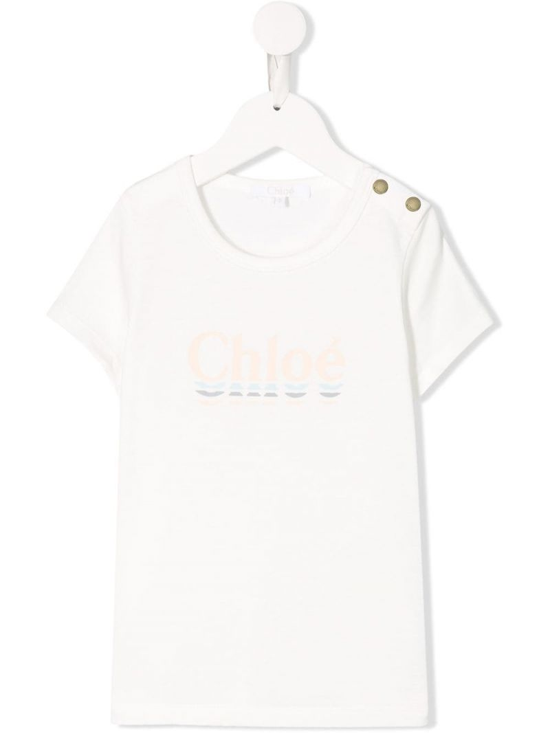 CHLOÈ KIDS: logo print cotton blend t-shirt Color Neutral_1