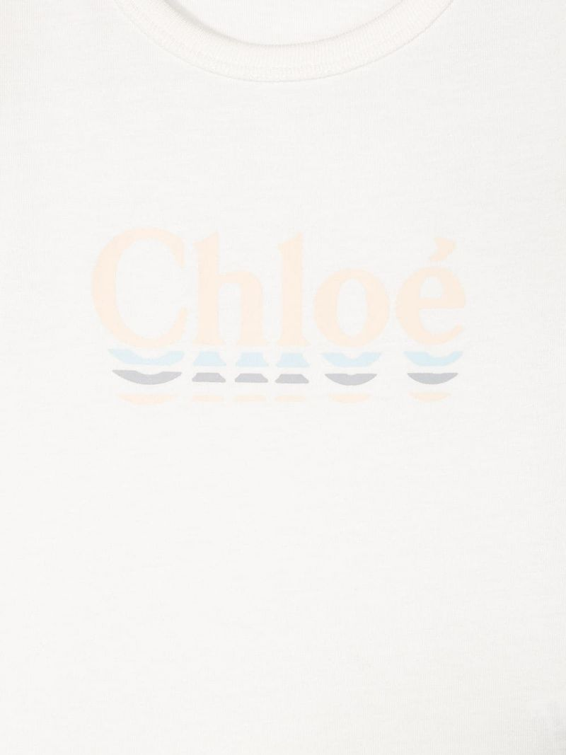 CHLOÈ KIDS: logo print cotton blend t-shirt Color Neutral_3