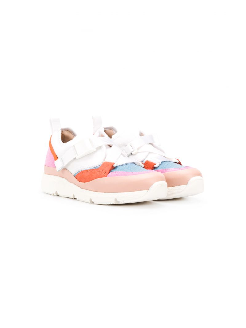 CHLOÈ KIDS: Sonnie low-top sneakers in leather and fabric Color Pink_1
