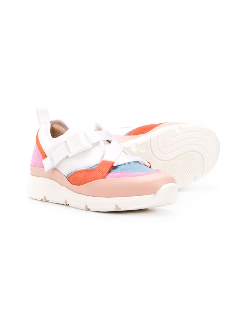 CHLOÈ KIDS: Sonnie low-top sneakers in leather and fabric Color Pink_2