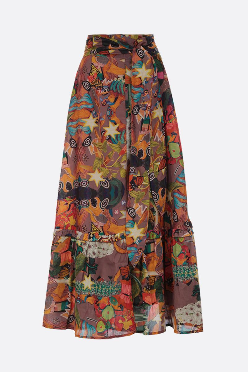 CHUFY: Khyuana maxi skirt in printed cotton silk blend Color Multicolor_1