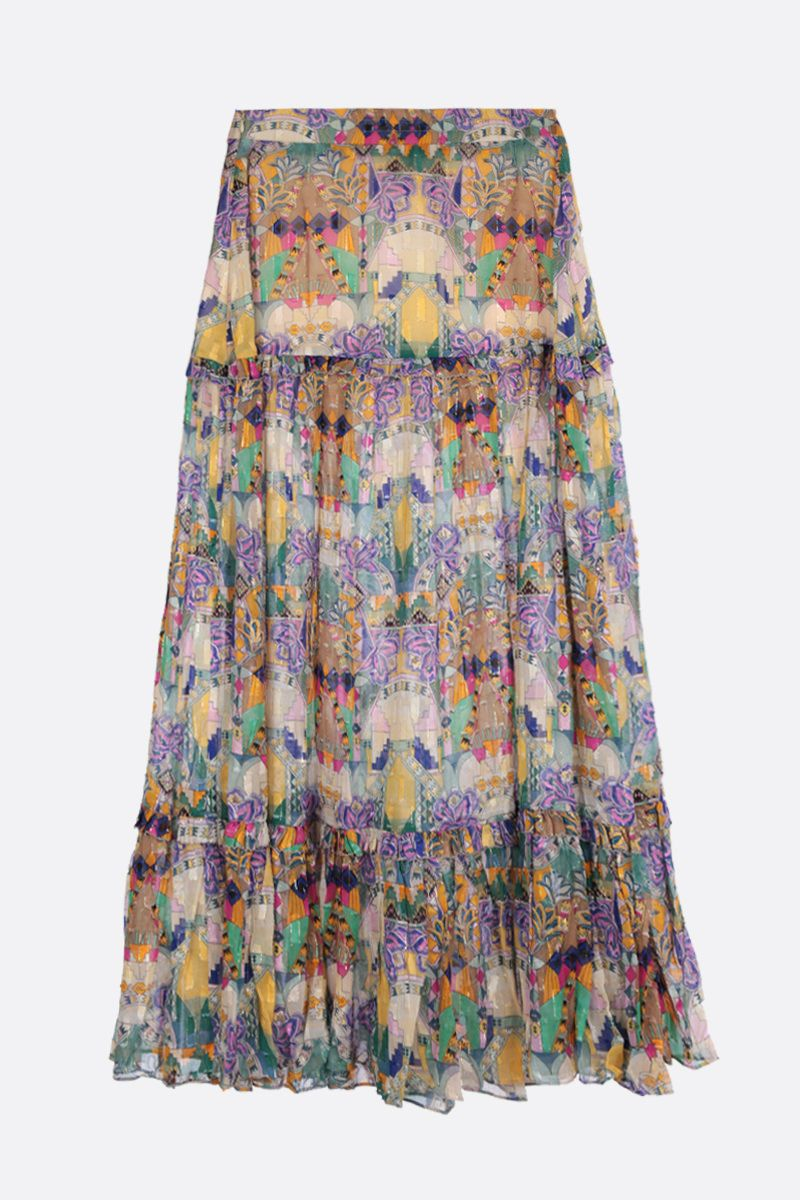 CHUFY: Inka midi skirt in georgette and lurex Color Multicolor_1