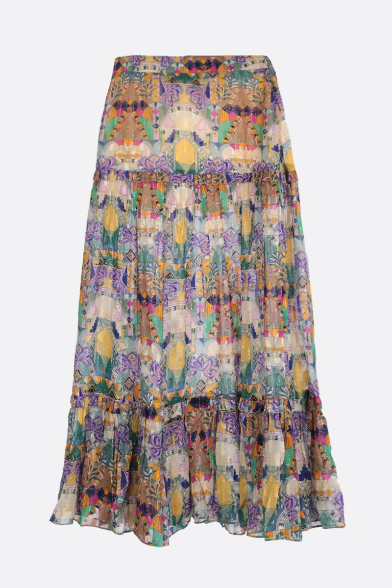 CHUFY: Inka midi skirt in georgette and lurex Color Multicolor_2