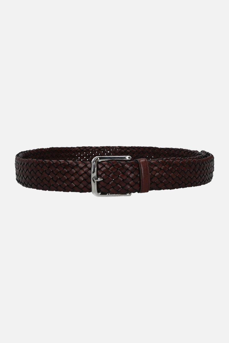 CHURCH'S: woven leather classic belt Color Brown_1