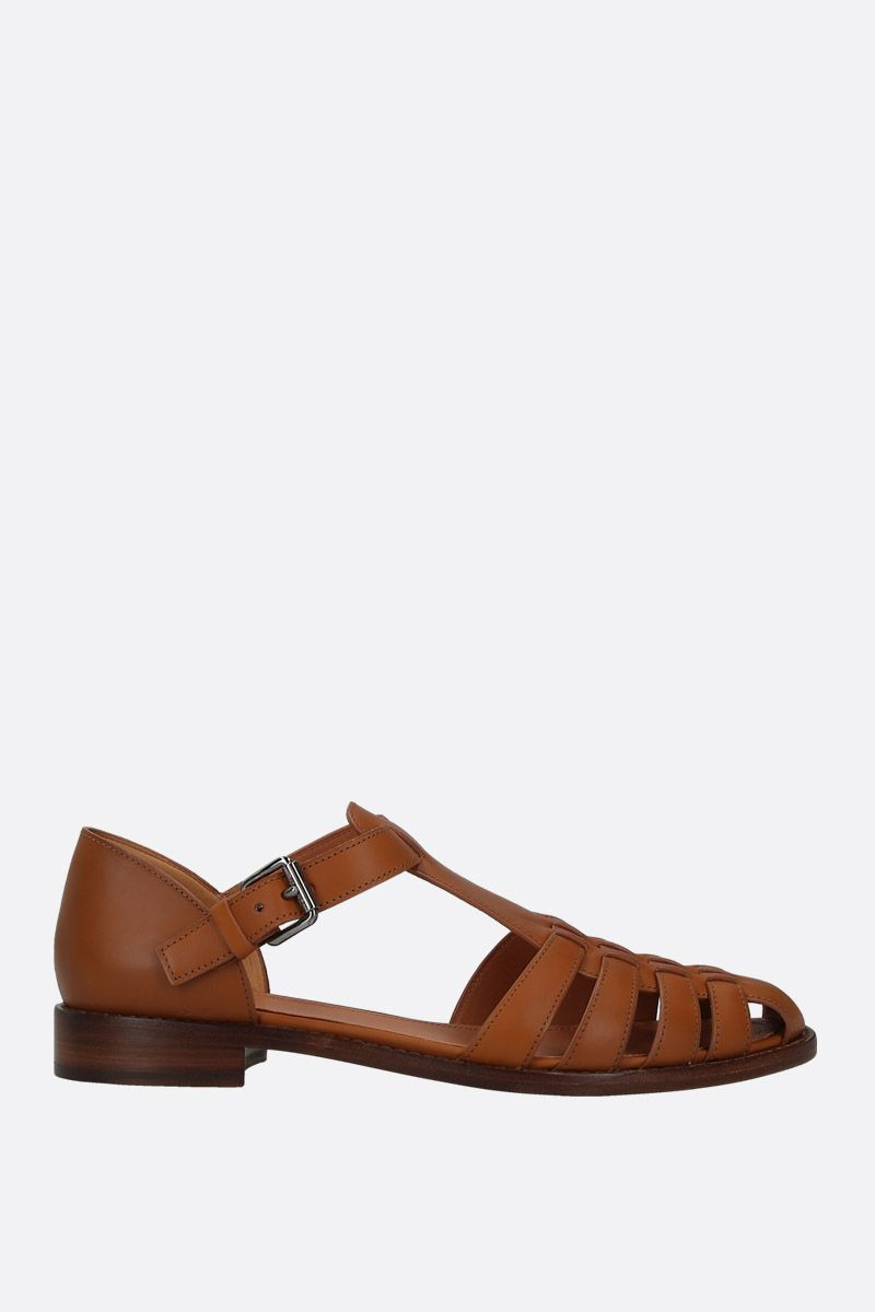 CHURCH'S: Kelsey sandals in Prestige leather Color Neutral_1