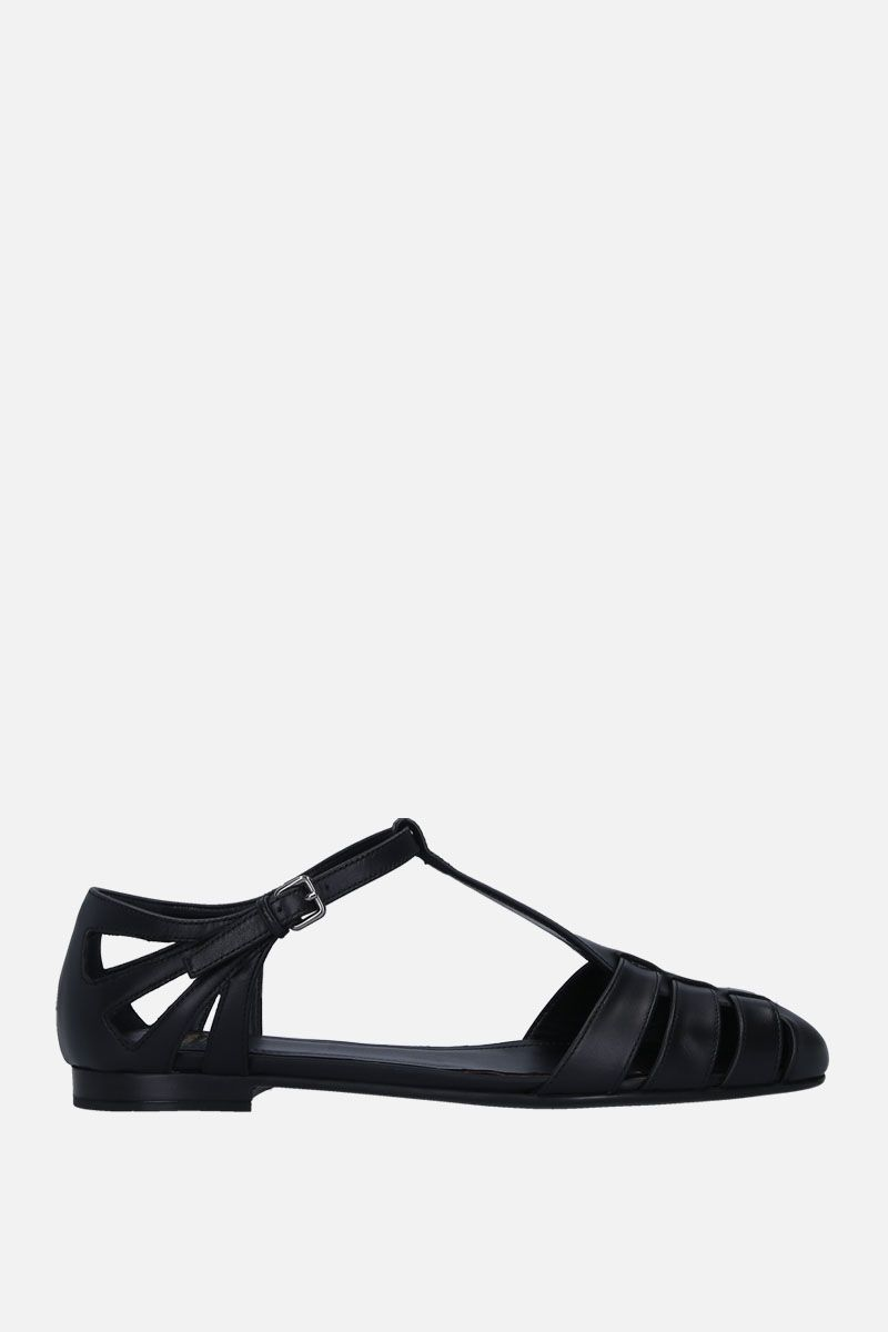 CHURCH'S: Rainbow T-bar sandals in smooth leather Color Black_1