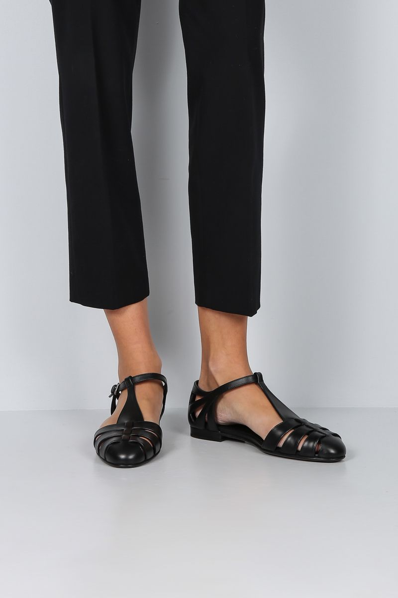 CHURCH'S: Rainbow T-bar sandals in smooth leather Color Black_2