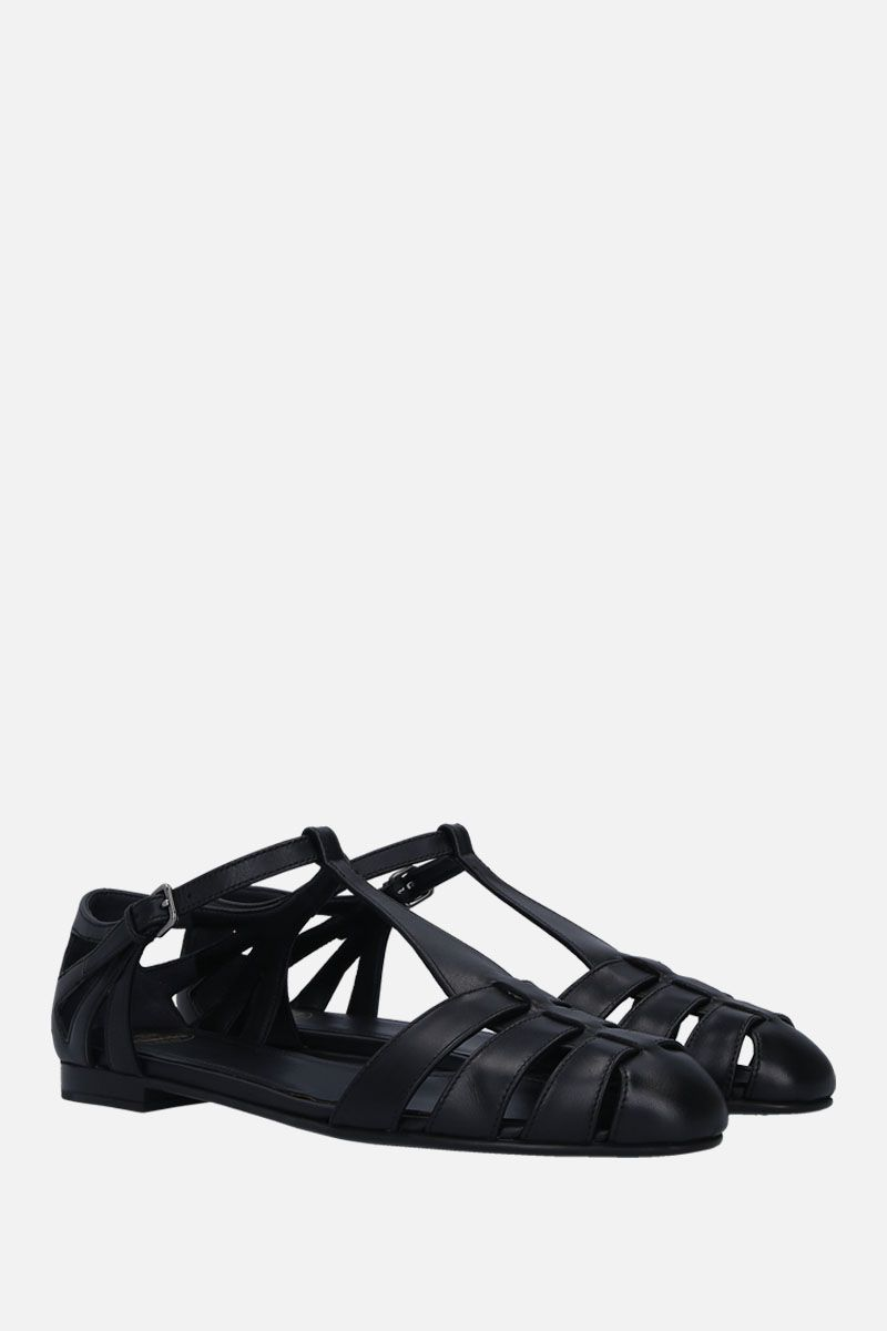 CHURCH'S: Rainbow T-bar sandals in smooth leather Color Black_3