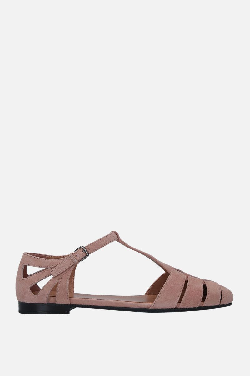 CHURCH'S: Rainbow T-bar sandals in soft suede Color Blue_1
