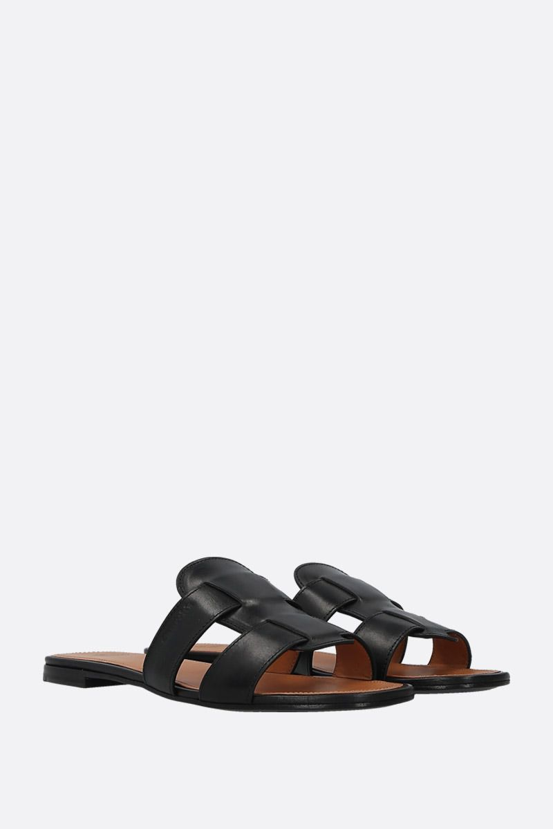 CHURCH'S: Dee Dee smooth leather slide sandals Color Black_3
