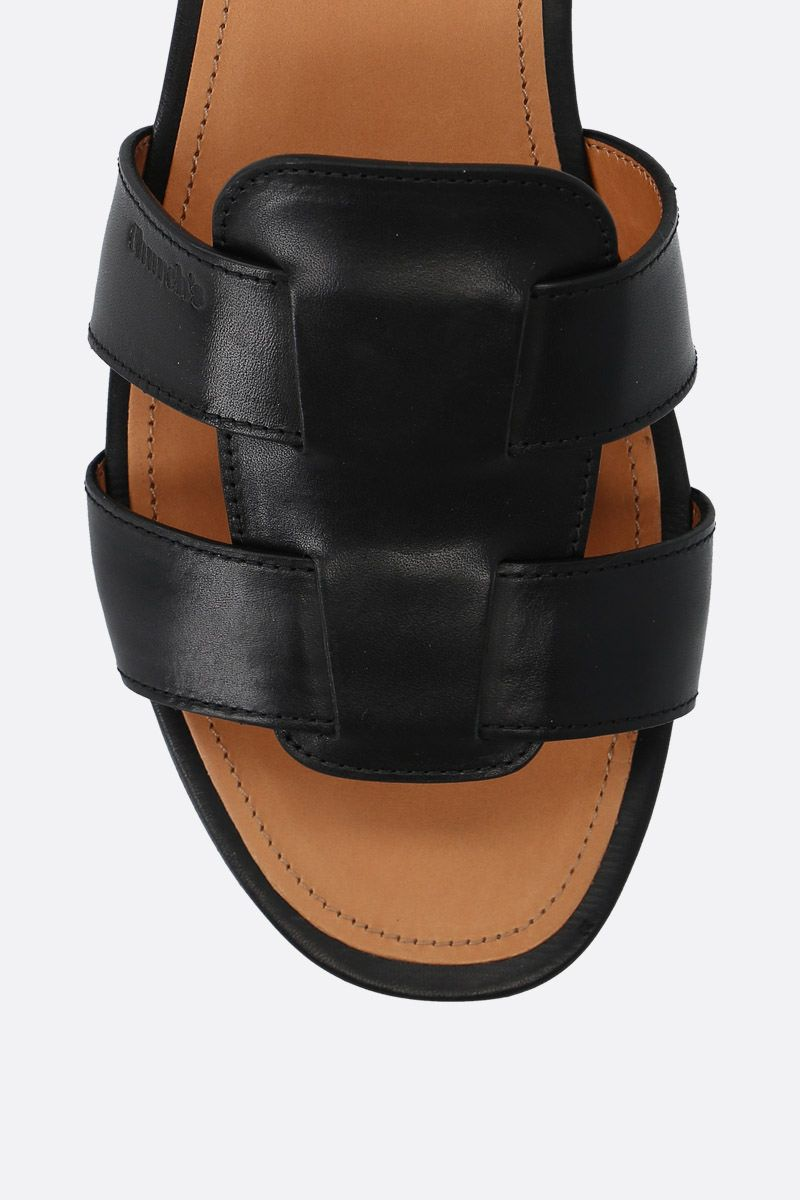 CHURCH'S: Dee Dee smooth leather slide sandals Color Black_5