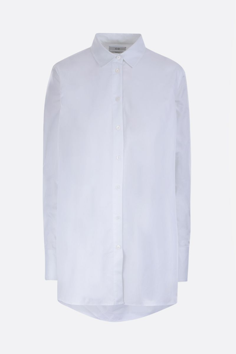 CO: cotton poplin A-line shirt Color White_1