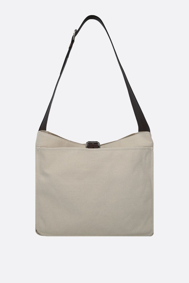COLVILLE: canvas shoulder bag with grainy leather details Color White_1