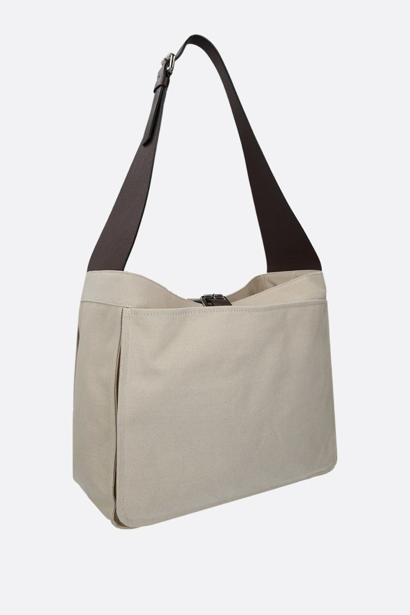 COLVILLE: canvas shoulder bag with grainy leather details Color White_2