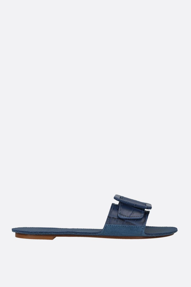 DEFINERY: The Loop slide sandals in crocodile embossed leather Color Blue_1
