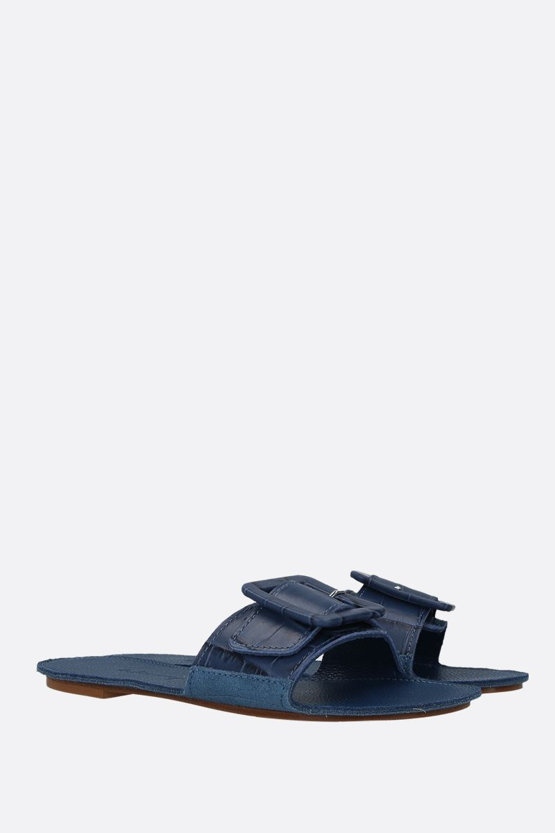 DEFINERY: The Loop slide sandals in crocodile embossed leather Color Blue_2