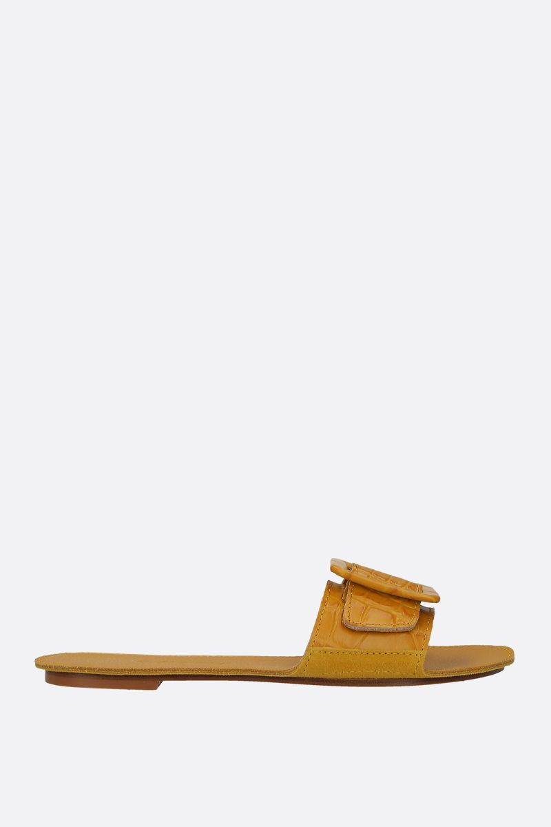 DEFINERY: The Loop slide sandals in crocodile embossed leather Color Yellow_1