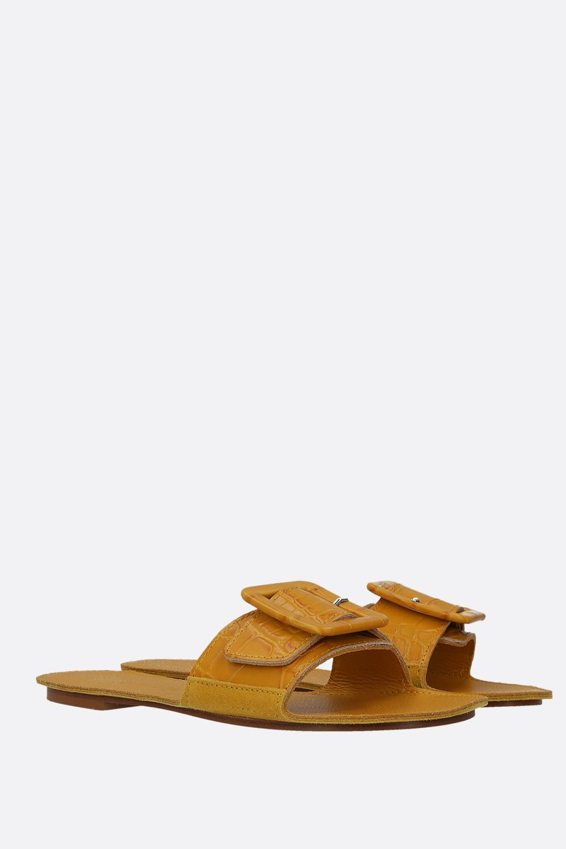DEFINERY: The Loop slide sandals in crocodile embossed leather Color Yellow_2