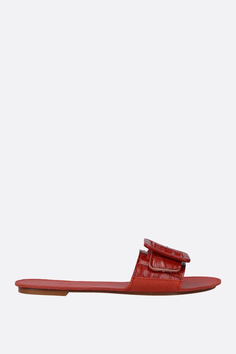 DEFINERY: The Loop slide sandals in crocodile embossed leather Color Red_1