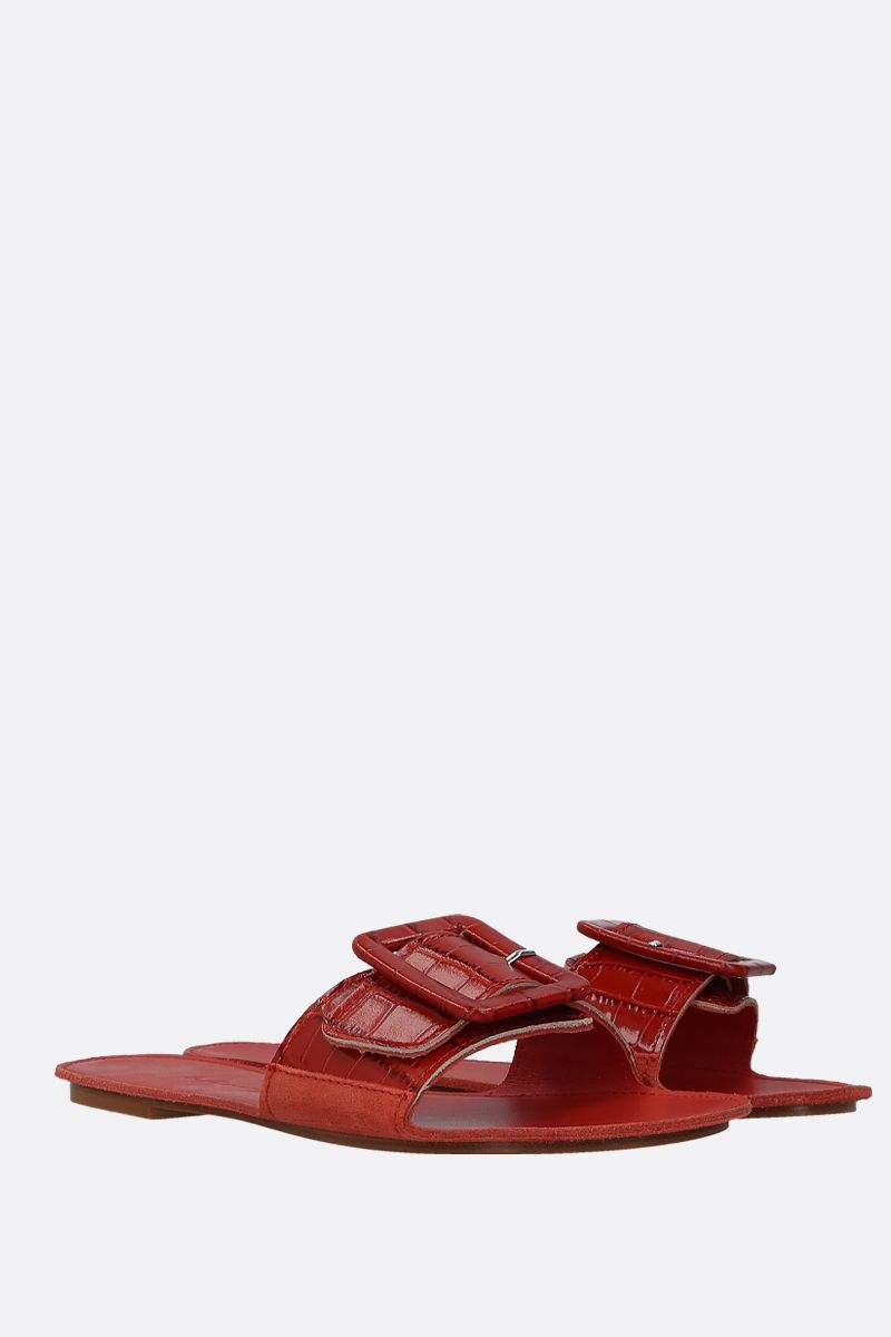 DEFINERY: The Loop slide sandals in crocodile embossed leather Color Red_2