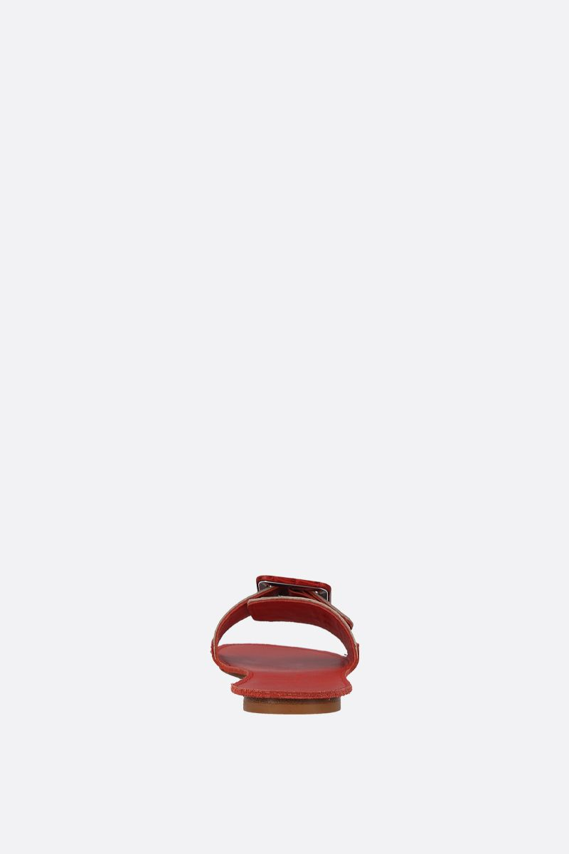 DEFINERY: The Loop slide sandals in crocodile embossed leather Color Red_3