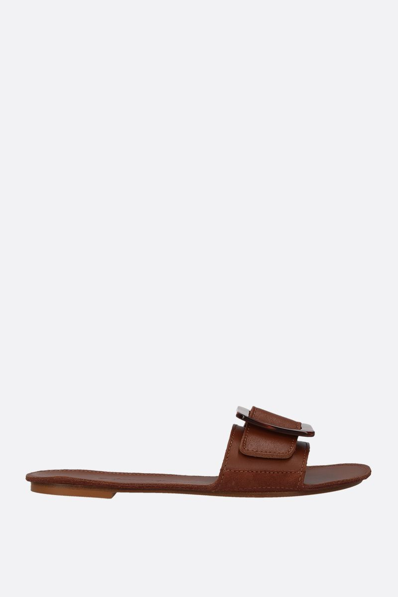 DEFINERY: The Loop slide sandals in smooth leather Color Brown_1