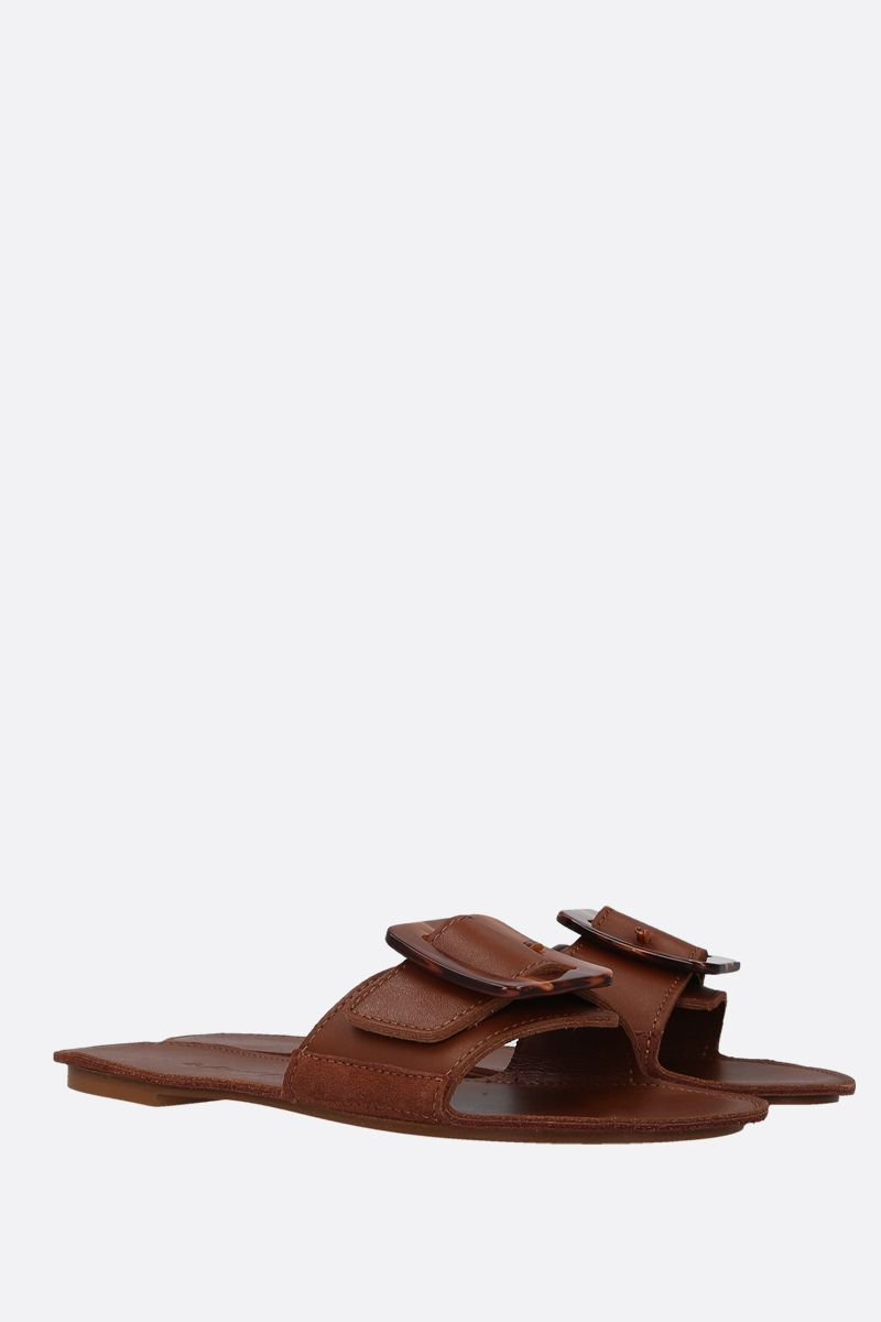 DEFINERY: The Loop slide sandals in smooth leather Color Neutral_2