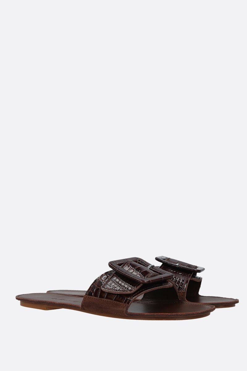 DEFINERY: The Loop slide sandals in lizard embossed leather Color Brown_2