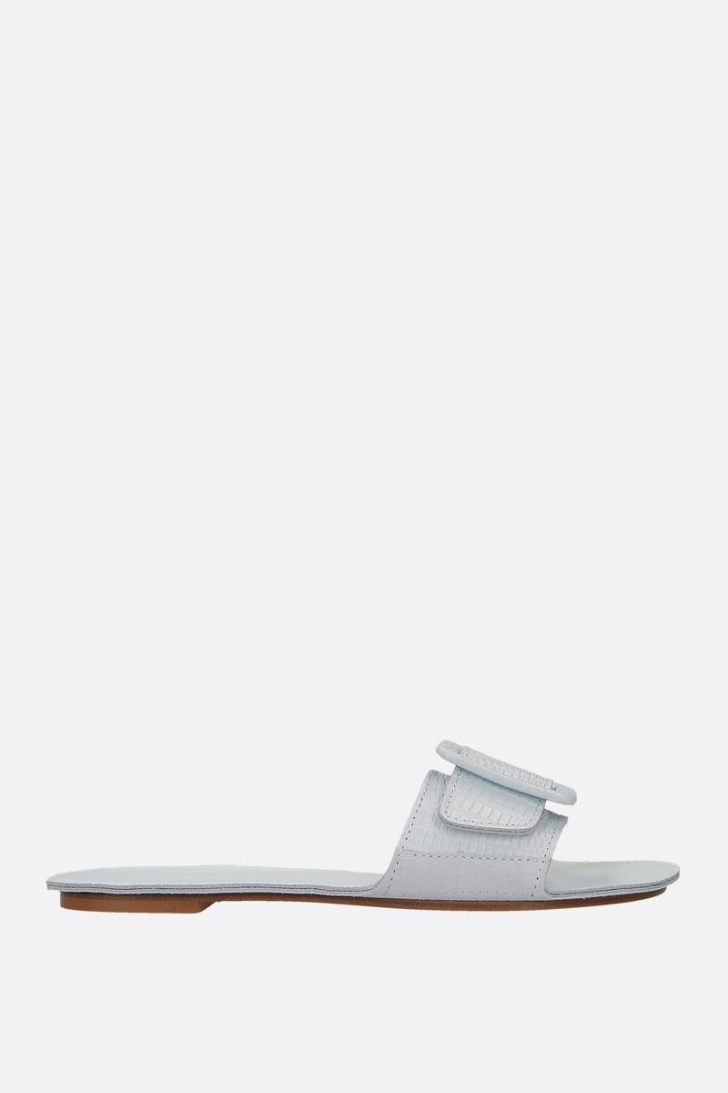 DEFINERY: The Loop slide sandals in lizard embossed leather Color White_1