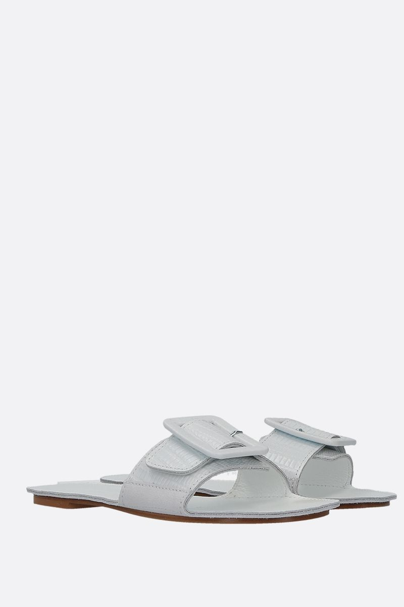 DEFINERY: The Loop slide sandals in lizard embossed leather Color White_2