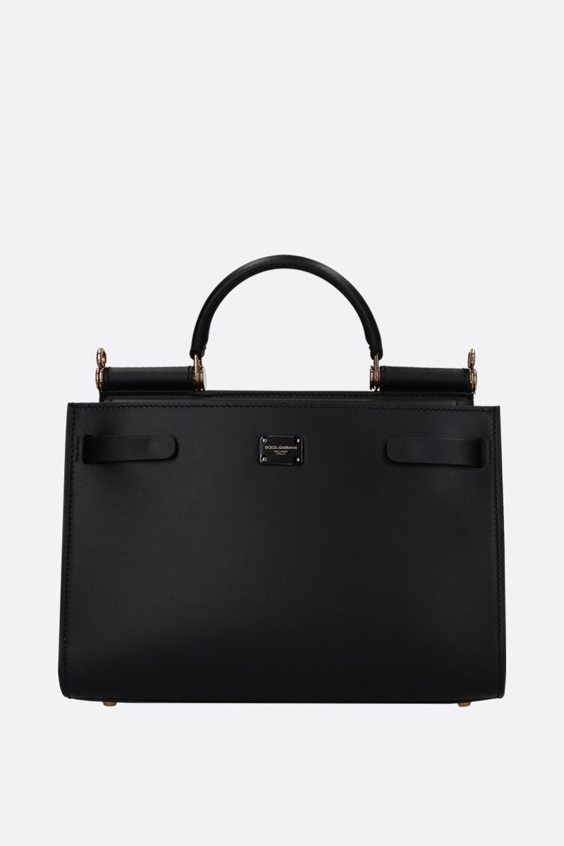 DOLCE & GABBANA: Sicily 62 small top handle bag in smooth leather Color Black_1